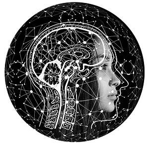 an illustration of a woman with a brain overlayed on top and a sphere of neurons surrounding her